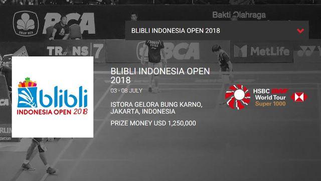 インドネシアオープン2018 試合結果速報・日本代表・日程テレビ放送賞金・バドミントン!
