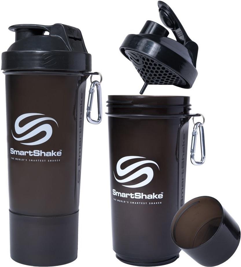 【SmartShake】Slim BLACK 500ml 多機能プロテインシェイカー