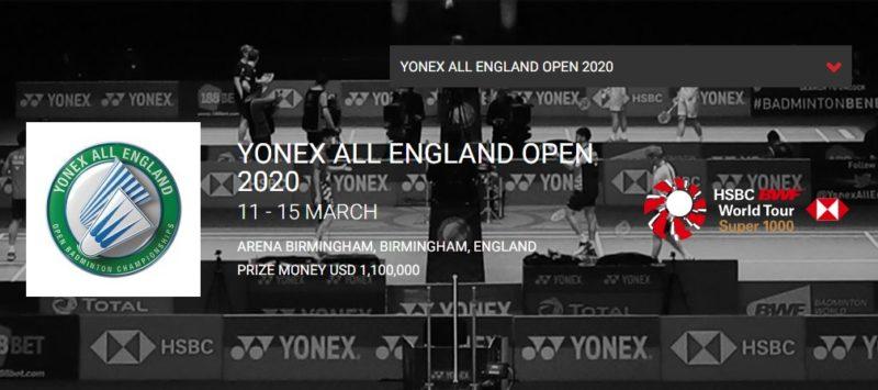 全英オープン2020バドミントン結果速報・出場選手ドロー・日程テレビ放送・桃田賢斗