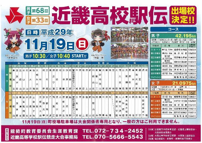 近畿高校駅伝大会2017、日程・コース・駐車場!
