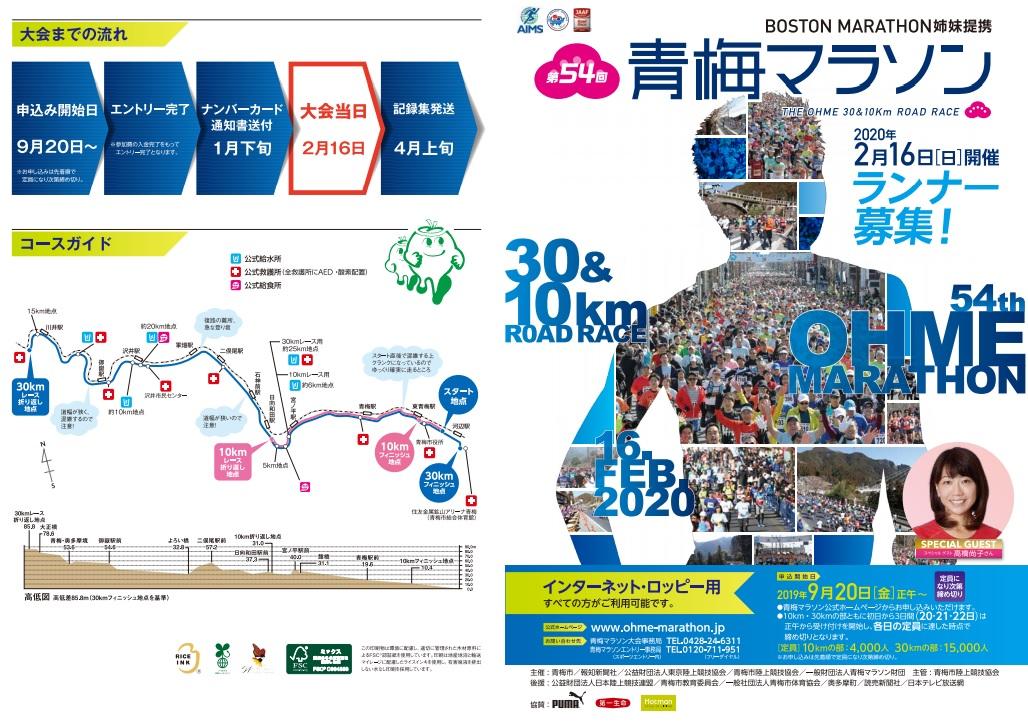 青梅マラソン2020結果速報・日程コース・招待選手