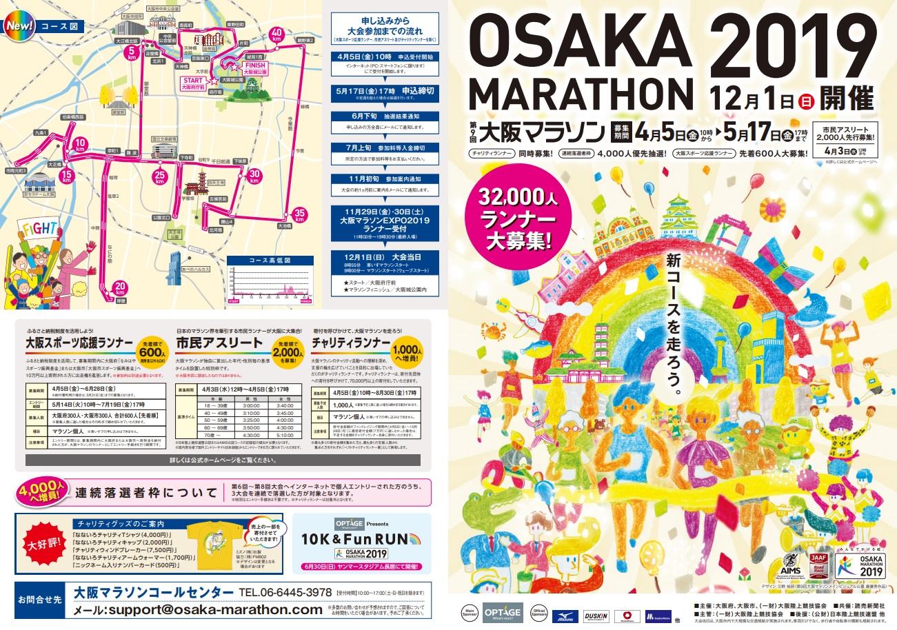 大阪マラソン2019結果速報・日程コース
