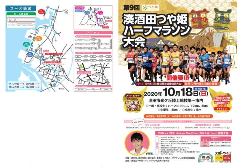 湊酒田つや姫ハーフマラソン2020結果速報・エントリー・日程コース
