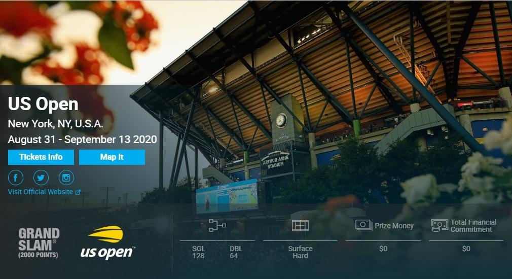 テニス全米オープン2020結果速報・日程テレビ放送・賞金