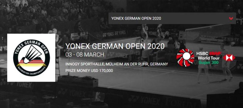 ドイツオープン2020結果速報バドミントン・出場選手ドロー