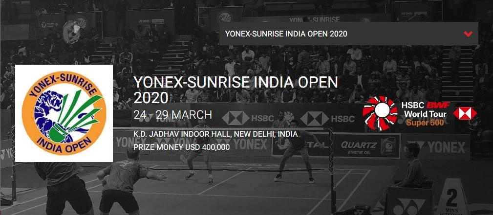 インドオープン2020結果速報バドミントン・テレビ放送・出場選手ドロー